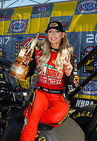Apr 23, 2017; Baytown, TX, USA; NHRA top fuel driver Leah Pritchett celebrates after winning the Springnationals at Royal Purple Raceway. Mandatory Credit: Mark J. Rebilas-USA TODAY Sports