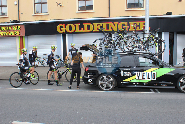 Neon Velo Cycling Team riders in Bundoran before the start of Stage 4 of the 2017 An Post Ras running 151.8km from Bundoran to Buncrana, Ireland. 24th May 2017.<br /> Picture: Andy Brady | Cyclefile<br /> <br /> <br /> All photos usage must carry mandatory copyright credit (&copy; Cyclefile | Andy Brady)