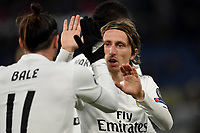 Gareth Bale of Real Madrid celebrates witk Luka Modric of Real Madrid after scoring a goal  during the Uefa Champions League 2018/2019 Group G football match between AS Roma and Real Madrid atOlimpico stadium , Rome, November, 27, 2018 <br />  Foto Andrea Staccioli / Insidefoto
