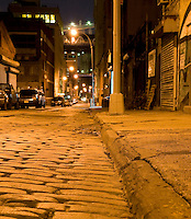 AVAILABLE FROM JEFF AS A FINE ART PRINT.<br /> <br /> AVAILABLE FROM GETTY IMAGES FOR COMMERCIAL AND EDITORIAL LICENSING.  Please go to www.gettyimages.com and search for #95933386.<br /> <br /> <br /> Mysterious Street Scene at Night in the DUMBO neighborhood of Brooklyn, New York City, New York State, USA
