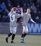01.05.18 Stenhousemuir v Queens Park: Robbie Leitch (R) celebrates his goal with team mate Scott Gibson