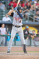 Arkansas Travelers infielder Mike Ahmed (4) awaits a pitch during a Texas League game between the Northwest Arkansas Naturals and the Arkansas Travelers on May 30, 2019 at Arvest Ballpark in Springdale, Arkansas. (Jason Ivester/Four Seam Images)