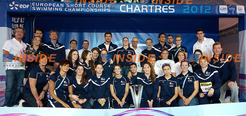 FRANCE Team ranking winner.XVI European Short Course Swimming Championships.Chartres - FRA France Nov. 22 -25 2012.Day04 medals.Photo G.Scala/Deepbluemedia/Inside