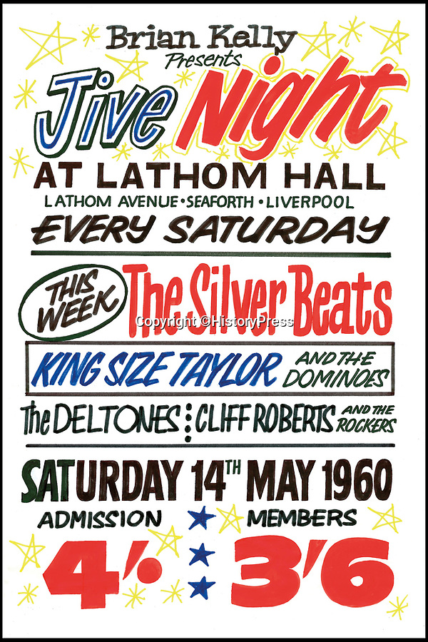 BNPS.co.uk (01202 558833)Pic: HistoryPress/BNPS<br /> <br /> Latham Hall, Liverpool. Saturday 14th May 1960.<br /> <br /> Fascinating promotional posters charting the humble beginnings of the Beatles for gigs in church halls and horticultural clubs have emerged in a new book.<br /> <br /> They were designed by the late artist Tony Booth who was commissioned by the Beatles' legendary manager Brian Epstein to create the posters for their shows from 1960 to 1963.<br /> <br /> They feature in new book 'The Beatles In Posters', which has been completed by his son Lee following Tony's death in January.<br /> <br /> The final posters by him date to the end of 1963, by which point the Beatles had become household names following the release of debut album 'Please, Please Me'.