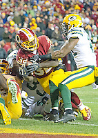 Washington Redskins running back Rob Kelley (32) scores a touchdown in the fourth quarter against the Green Bay Packers at FedEx Field in Landover, Maryland on Sunday, November 20, 2016.  Green Bay Packers free safety Ha Ha Clinton-Dix (21) tries to keep him from scoring.  The Redskins won the game 42 - 24.<br /> Credit: Ron Sachs / CNP /MediaPunch