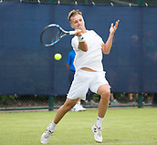 June 10th 2017,  Nottingham, England; ATP Aegon Nottingham Open Tennis Tournament day 1; Forehand from  Lloyd Glasspool of Great Britain in his way to victory in two sets against Neil Pauffley of Great Britain