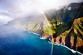 USA, Hawaii, a beautiful view of a rainbow and the Napali Coast, Kaua'i