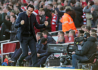 Arsenal manager Unai Emery celebrates after Pierre-Emerick Aubameyang gives his side a 1-0 lead<br /> <br /> Photographer David Shipman/CameraSport<br /> <br /> The Premier League - Arsenal v Burnley - Saturday 22nd December 2018 - The Emirates - London<br /> <br /> World Copyright © 2018 CameraSport. All rights reserved. 43 Linden Ave. Countesthorpe. Leicester. England. LE8 5PG - Tel: +44 (0) 116 277 4147 - admin@camerasport.com - www.camerasport.com