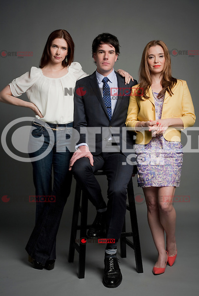 April 22, 2012 : Actresses Bitsie Tulloch and Marguerite Moreau with Director Adam Christian Clark at the portrait session for the film, Caroline & Jackie during the Tribeca Film Festival 2012. New York City. © Derek Reed/MediaPunch Inc. ***Premium Rates Only***