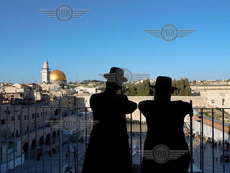Two Hassidic Jews Look towards the Western Wall (Wailing Wall)