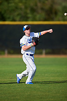 South Dakota State Jackrabbits left fielder Jamie Berg (24) throws the ball in during a game against the Northeastern Huskies on February 23, 2019 at North Charlotte Regional Park in Port Charlotte, Florida.  Northeastern defeated South Dakota State 12-9.  (Mike Janes/Four Seam Images)