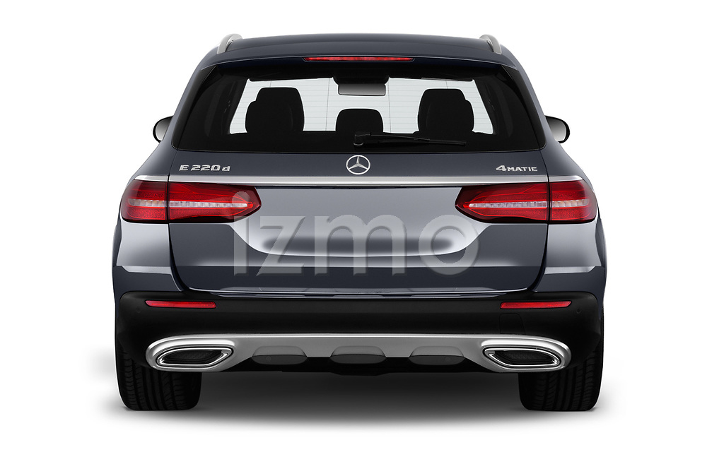 Straight rear view of 2017 Mercedes Benz E-Class All-Terrain 5 Door Wagon Rear View  stock images
