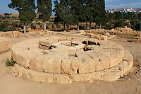 General view of Circular Altar, Sanctuary of Chthonian Gods (Chthonic Deities, the gods of the underworld), 5th century BC, Agrigento, Sicily, Italy,  pictured on September 12, 2009, in the morning. This round altar with a sacred well in the centre was probably the place where the rite of the Thesmophoria, a festival held in honour of Demeter, was celebrated by married women. The Valley of the Temples is a UNESCO World Heritage Site. Picture by Manuel Cohen.