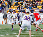 University at Albany Men's Lacrosse defeats Cornell 11-9 on Mar 4 at Casey Stadium.  Tehoka Nanticoke (#1) passes to Sean Eccles (#38).
