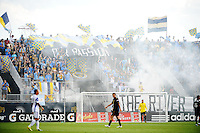 Philadelphia Union fans celebrate a goal. The Philadelphia Union and the Kansas City Wizards played to a 1-1 tie during a Major League Soccer (MLS) match at PPL Park in Chester, PA, on September 04, 2010.