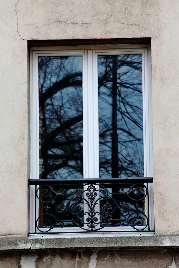 Paris Left Bank: Near Montparnasse, an old closed window with its typical railing, that reflects the bare trees of the garden in front of it and the bottom part of a street lamp.