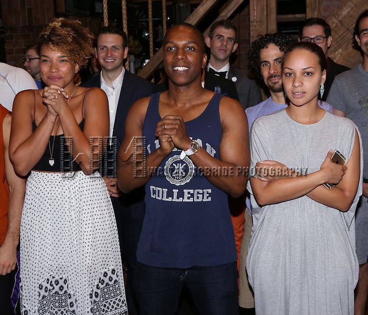Ariana DeBose, Leslie Odom Jr. and Jasmine Cephas Jones attends the Broadway Opening Night Actors' Equity Gypsy Robe Ceremony honoring Betsy Struxness of 'Hamilton at the Richard Rodgers Theatre on August 6,, 2015 in New York City.