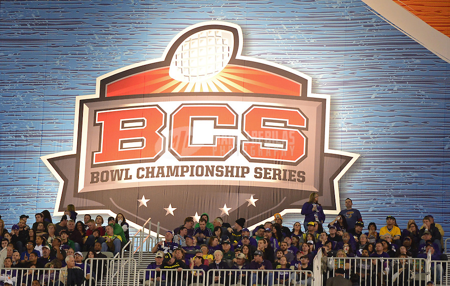 Jan. 3, 2013; Glendale, AZ, USA: Detailed view of a BCS logo during the game between the Oregon Ducks against the Kansas State Wildcats during the 2013 Fiesta Bowl at University of Phoenix Stadium. Oregon defeated Kansas State 35-17. Mandatory Credit: Mark J. Rebilas-
