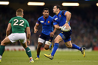 Scott Spedding of France looks to pass the ball. Rugby World Cup Pool D match between France and Ireland on October 11, 2015 at the Millennium Stadium in Cardiff, Wales. Photo by: Patrick Khachfe / Onside Images