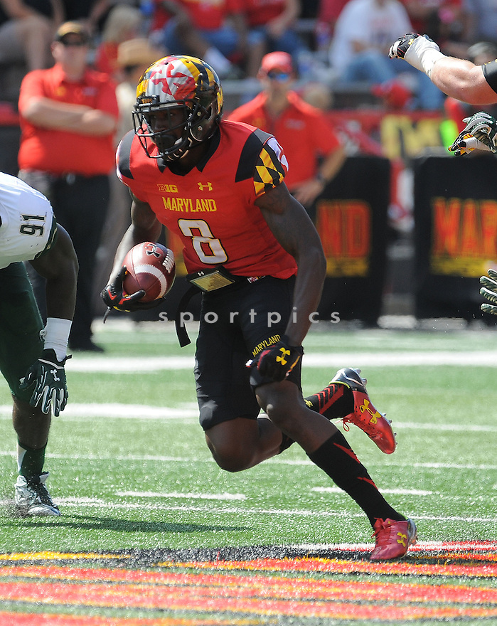 Maryland Terrapins Levern Jacobs (8) during a game against the South Florida Bulls on September 19, 2015 at Byrd Stadium in College Park, MD. Maryland beat South Florida 35-17.