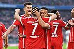 10.03.2018, Allianz Arena, Muenchen, GER, 1.FBL,  FC Bayern Muenchen vs. Hamburger SV, im Bild Jubel nach dem Tor zum 5-0 durch Franck Ribery (FCB #7) mit Robert Lewandowski (FCB #9) Thiago (FCB #6) <br /> <br />  Foto &copy; nordphoto / Straubmeier