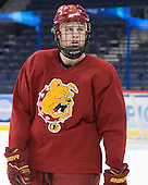 Justin DeMartino (FSU - 19) - The Ferris State University Bulldogs practiced on Friday, April 6, 2012, during the 2012 Frozen Four at the Tampa Bay Times Forum in Tampa, Florida.