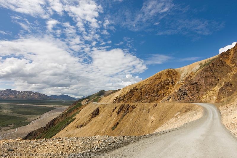 The Denali Park road traverses through Polychrome pass, Denali National Park, Interior, Alaska.