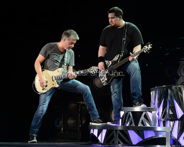 WEST PALM BEACH, FL - SEPTEMBER 15: Eddie Van Halen and Wolfgang Van Halen of Van Halen perform at The Perfect Vodka Amphitheater on September 15, 2015 in West Palm Beach Florida. Credit: mpi04/MediaPunch