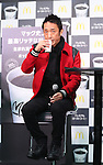 January 12, 2017, Tokyo, Japan - Japanese actor Toshio Kakei attends a promotional event for McDonald's new coffee and he distributes free samples to customers in Tokyo on Thursday, January 12, 2017. The hamburger restaurant chain will launch the new taste coffee at their restaurants from January 16.   (Photo by Yoshio Tsunoda/AFLO) LWX -ytd-