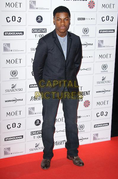 John Boyega.14th Moet British Independent Film Awards 2011, Old Billingsgate, Lower Thames Street, London, England, 4th December 2011.full length black suit blue shirt.CAP/CJ.©Chris Joseph/Capital Pictures.