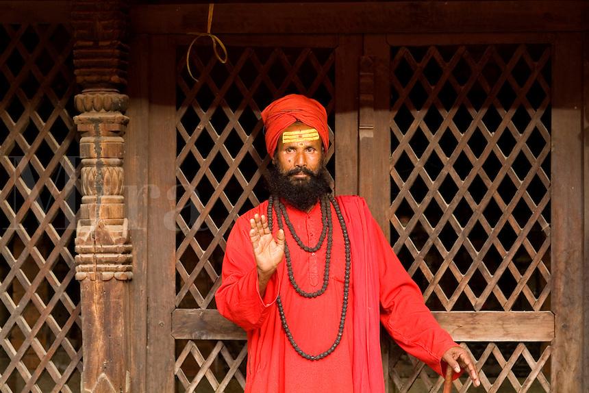 Religious Hindu man in Durbar Square, Kathmandu Nepal