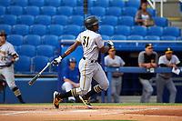 Bradenton Marauders third baseman Ke'Bryan Hayes (31) follows through on a swing during a game against the Dunedin Blue Jays on July 17, 2017 at Florida Auto Exchange Stadium in Dunedin, Florida.  Bradenton defeated Dunedin 7-5.  (Mike Janes/Four Seam Images)