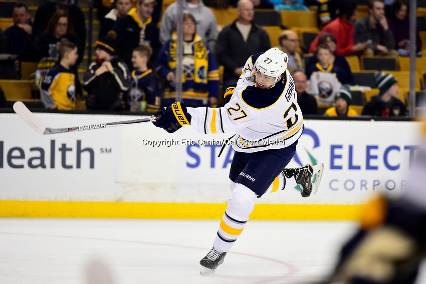 Saturday, December 31, 2016: Buffalo Sabres center Derek Grant (27) warms up before the National Hockey League game between the Buffalo Sabres and the Boston Bruins held at TD Garden, in Boston, Mass. Boston defeats Buffalo 3-1.  Eric Canha/CSM