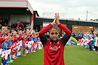 Alex Scott of Arsenal Women is welcomed onto the pitch by s guard of honour before Arsenal Women vs Manchester City Women, FA Women's Super League FA WSL1 Football at Meadow Park on 12th May 2018