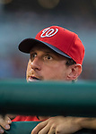 6 August 2016: Washington Nationals pitcher Max Scherzer looks up from the dugout during a game against the San Francisco Giants at Nationals Park in Washington, DC. The Giants defeated the Nationals 7-1 to even their series at one game apiece. Mandatory Credit: Ed Wolfstein Photo *** RAW (NEF) Image File Available ***