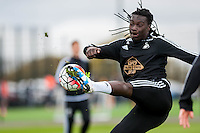 Wednesday  27 April 2016<br /> Pictured: Bafetibi Gomis of Swansea City in action during training <br /> Re: Swansea City Training Session at the Fairwood Ground, Swansea, Wales, UK