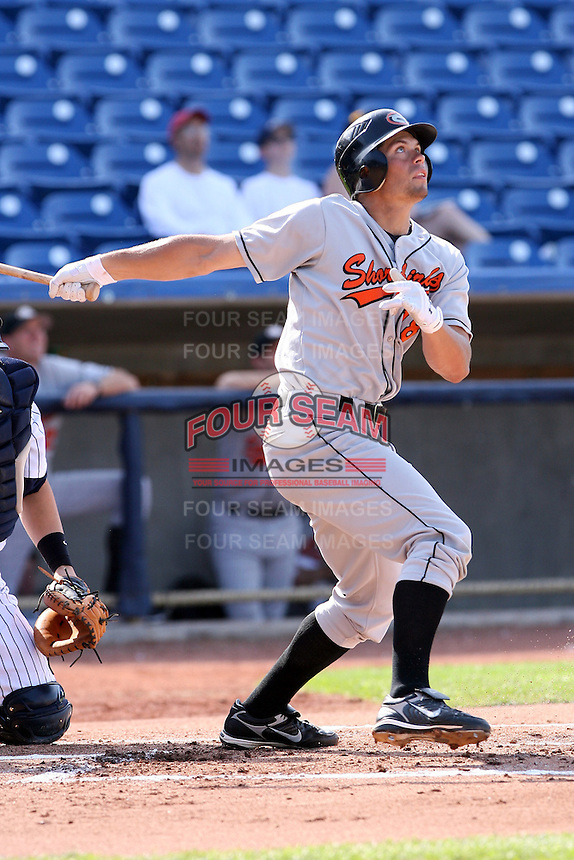 June 11th 2008:  Joe Nowicki of the Delmarva Shorebirds, Class-A affiliate of the Baltimore Orioles, during a game at Classic Park in Eastlake, OH.  Photo by:  Mike Janes/Four Seam Images