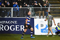 Jack Wilson of Bath Rugby scores a try in the second half. Anglo-Welsh Cup match, between Bath Rugby and Newcastle Falcons on January 27, 2018 at the Recreation Ground in Bath, England. Photo by: Patrick Khachfe / Onside Images