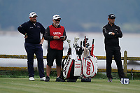 Shane Lowry (IRL) and Gary Woodland (USA) on the 18th tee during the 2nd round of the US Open Championship, Pebel Beach Golf Links, Monterrey, Calafornia, USA. 14/06/2019.<br /> Picture Fran Caffrey / Golffile.ie<br /> <br /> All photo usage must carry mandatory copyright credit (© Golffile | Fran Caffrey)