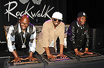 """Grandwizzard Theododre, Grandmixer DXT and Grandmaster Flash honored with """"Hip Hop DJ Legends Rockwalk Induction"""" held at Guitar Center in Los Angeles March 6, 2014."""