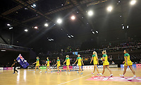 18.10.2018 Australia in action during the Silver Ferns v Australia netball test match at the TSB Arena in Wellington. Mandatory Photo Credit ©Michael Bradley.