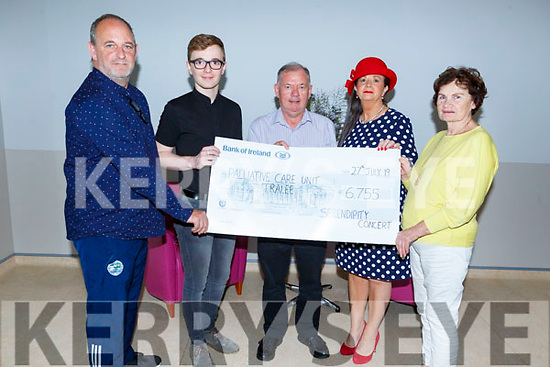 The Crowley family from Kenmare present the Palliative Care Unit at UHK, the sum of €6,755 from the Serendipity Concert fundraiser.<br /> L to r: Paul and Fiachra Crowley, Joe Hennebry, Margaret Lynch Crowley and Mary Shanahan (Kerry Hospice).