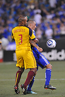 Robbie Russell (yellow), Ryan Smith...Kansas City Wizards and Real Salt Lake played to a 1-1 tie at Community America Ballpark, Kansas City, Kansas.