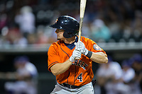 Ryne Birk (4) of the Buies Creek Astros at bat against the Winston-Salem Dash at BB&T Ballpark on April 13, 2017 in Winston-Salem, North Carolina.  The Dash defeated the Astros 7-1.  (Brian Westerholt/Four Seam Images)
