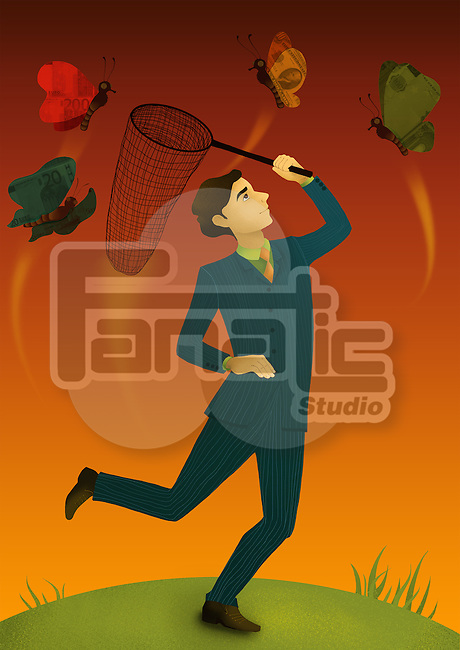 Illustrative concept of man with fishing net catching butterflies representing business offers
