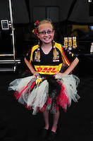 Apr. 29, 2012; Baytown, TX, USA: Jenna Arend ,  daughter of funny car driver Jeff Arend during the Spring Nationals at Royal Purple Raceway. Mandatory Credit: Mark J. Rebilas-