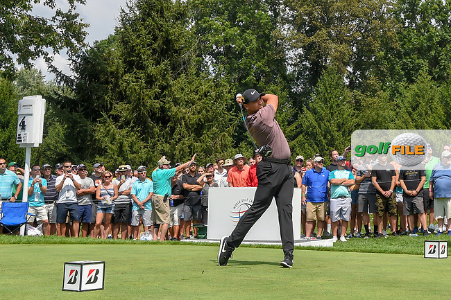 Jason Day (AUS) watches his tee shot on 4 during 2nd round of the World Golf Championships - Bridgestone Invitational, at the Firestone Country Club, Akron, Ohio. 8/3/2018.<br /> Picture: Golffile   Ken Murray<br /> <br /> <br /> All photo usage must carry mandatory copyright credit (© Golffile   Ken Murray)