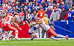 9 November 2014: Buffalo Bills running back Fred Jackson is tackled by Kansas City Chiefs defensive back Kurt Coleman after a 10-yard gain to end the first quarter at Ralph Wilson Stadium in Orchard Park, NY. The Chiefs rallied with two fourth quarter touchdowns to defeat the Bills 17-13. Mandatory Credit: Ed Wolfstein Photo *** RAW (NEF) Image File Available ***