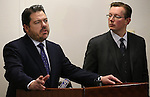 Nevada Senate Minority Leader Michael Roberson, R-Las Vegas, left, and Sen. Ben Kieckhefer, R-Reno, speak at a news conference at the Legislative Building in Carson City, Nev., on Tuesday, March 5, 2013..Photo by Cathleen Allison