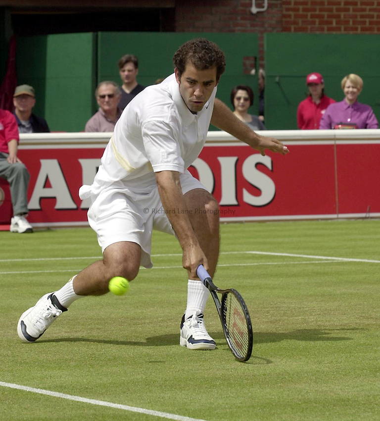 Photo:Ken Brown .11/06/2001. .Stella Artois Championship 2001 .Pete Sampras plays a volley in his match against Jan Siemerink which was carried over from yesterday.
